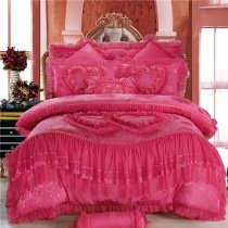 Girls Mexican Pink Victorian Heart Pattern Princess Style Lace and Ruffle Embroidered Design Luxury Full, Queen Size Bedding Sets
