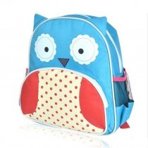 Personalized Owl-shaped with Cute Polka Dot Girls School Backpack Aqua Red White Durable Nylon Stylish Toddler Preppy Book Bag