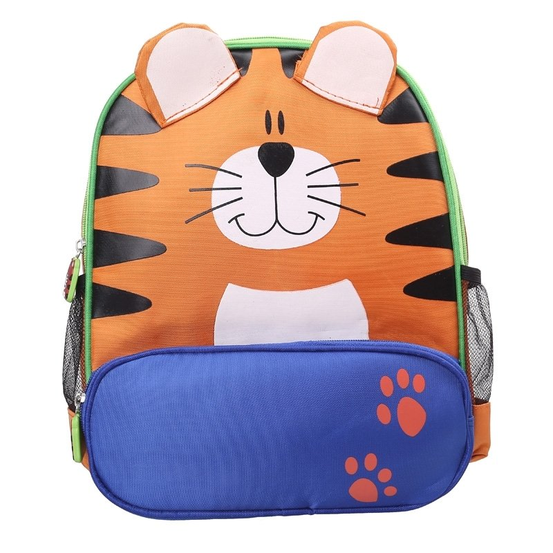 Personalized Giant Tiger Head-shaped Toddler School Backpack Durable Orange Blue Nylon Stylish Cute Animal Kids Preppy Book Bag