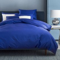 Royal Blue Solid Colored Masculine Traditional and Simple Shabby Chic Luxury Soft 100% Cotton Damask Full, Queen Size Bedding Sets