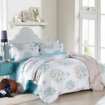 Turquoise Pink and White Wildflowers Print French Country Chic Fresh Style Natural Reversible 100% Tencel Full, Queen Size Bedding Sets