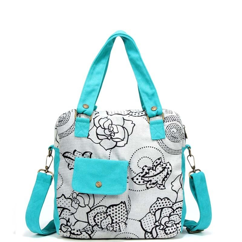 Luxury Affordable Canvas Casual Women Diaper Tote Bag Turquoise Black White Vintage Flower Stylish Polka Dot Crossbody Shoulder Bag