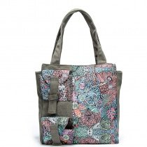 Durable Taupe Canvas Personalized Tote Aqua Blue Pink Bohemian Indian Style Colorful Floral Print Stylish Casual Women Shoulder Bag
