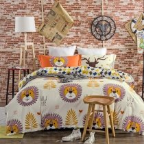 Carrot Orange Lilac and White Lion and Monogrammed Jungle Animal Modern Chic Hipster Style 100% Cotton Full, Queen Size Bedding Sets