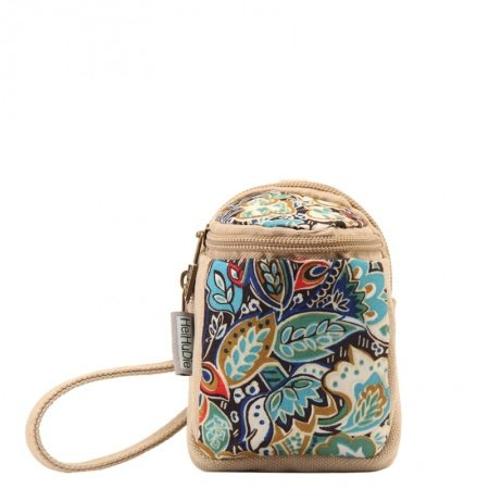 Stylish Durable Canvas Zipper Casual Women Mini Coin Purse Vintage Bohemian Clutch Wallet Colorful Hawaiian Floral Wristlet Key Case