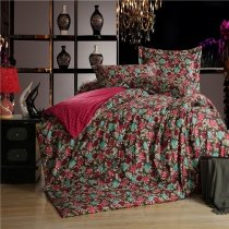 Dark Red and Turquoise Wildflowers Print Polka Dot Design Old World Style Shabby Chic 100% Egyptian Cotton Full, Queen Size Bedding Sets