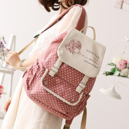 Durable Coral Red Beige Canvas Junior Preppy School Book Bag Boutique Polka Dot Casual Travel Bucket Drawstring Flap Laptop Backpack