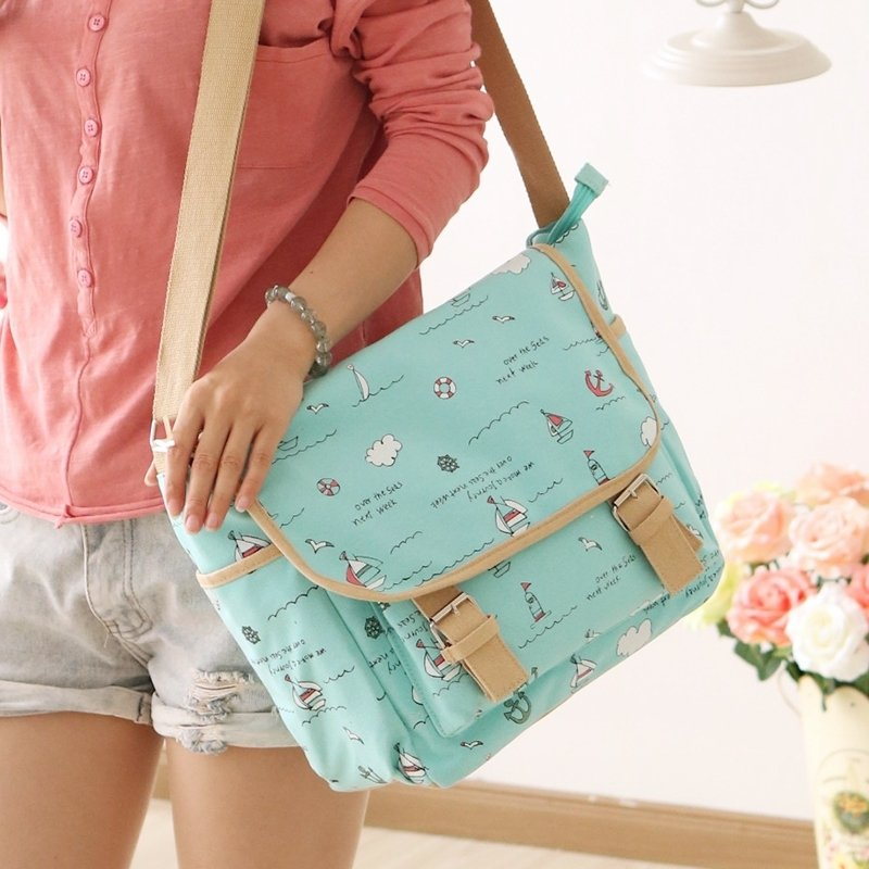 Trend Turquoise Canvas with Khaki Trim Nautical Anchor Junior School Satchel Stylish Monogrammed Flap Messenger Crossbody Shoulder Bag