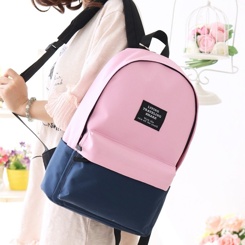 Boutique Dark Blue Pink Canvas Junior Preppy School Book Bag Simply Chic Color Blocking Casual Travel Hiking 14 Inch Laptop Backpack