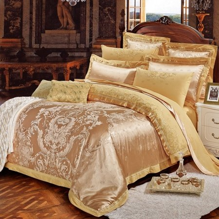 Luxury Gold Sparkle Rococo Pattern Abstract Design Royalty European Style Jacquard Satin Full, Queen Size Bedding Sets
