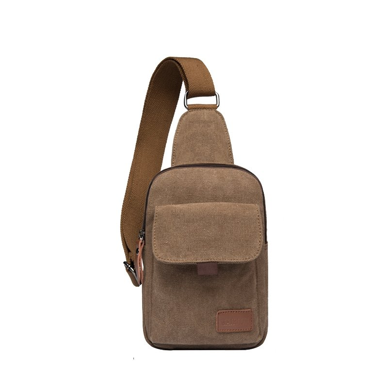 Stylish Durable Solid Coffee Brown Canvas Masculine Men Small Crossbody Chest Bag Trend Simply Chic Casual Hiking Travel Sling Backpack