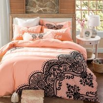 Salmon and Black Butterfly Print Lace Pattern Abstract Design Stylish Elegant Girls Full, Queen Size Bedding Sets