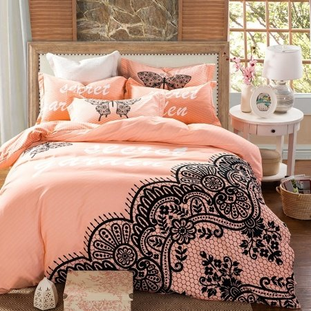 Salmon And Black Butterfly Print Lace Pattern Abstract