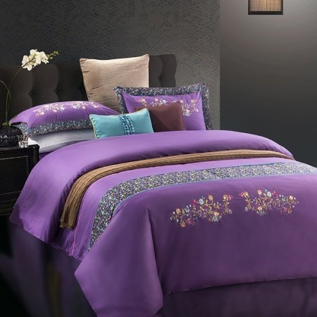 Amethyst Purple and Dark Green Vintage Greek Inspired Country Chic Old Fashion Western Style 100% Cotton Full, Queen Size Bedding Sets