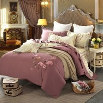 Cordovan and Beige Bird Design Flower Pattern Rustic Style Old Fashion 100% Cotton Damask Full, Queen Size Bedding Sets