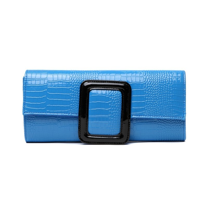 Sky Blue Distressed Patent Leather Vintage Lady Flap Evening Clutch Embossed Crocodile Magnetic Closure Chain Small Crossbody Shoulder Bag