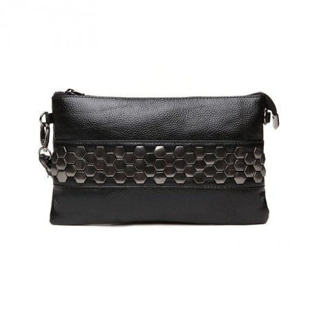 Luxury Black Genuine Cowhide Leather Women Casual Party Evening Clutch Wristlet Hipster Sequin Studded Small Crossbody Shoulder Bag