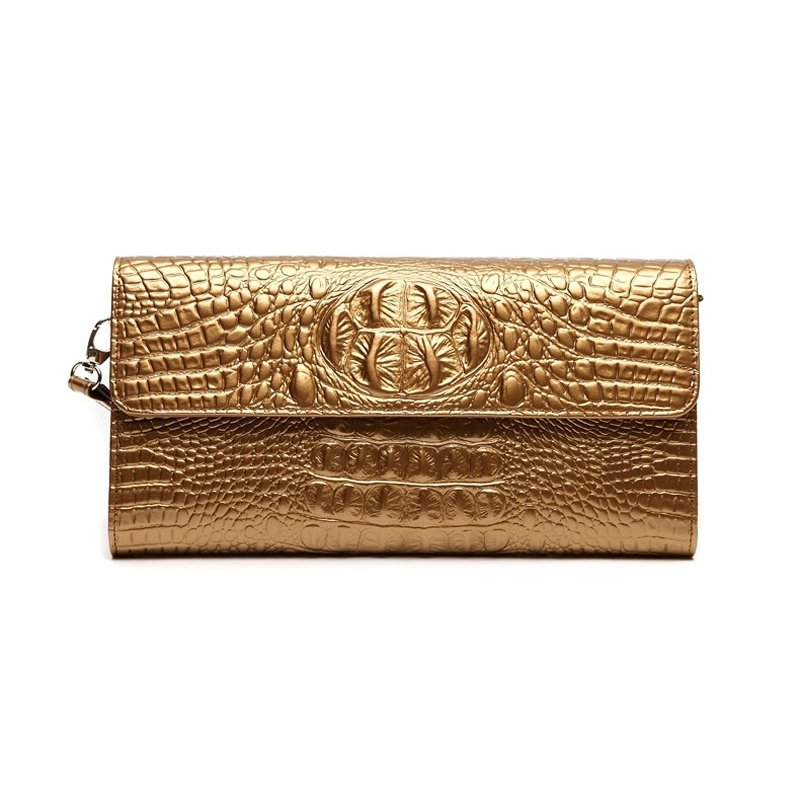 Gorgeous Gold Genuine Cowhide Leather Casual Party Flap Wristlet Trend Embossed Crocodile Magnet Buckle Lady Small Evening Clutch Bag