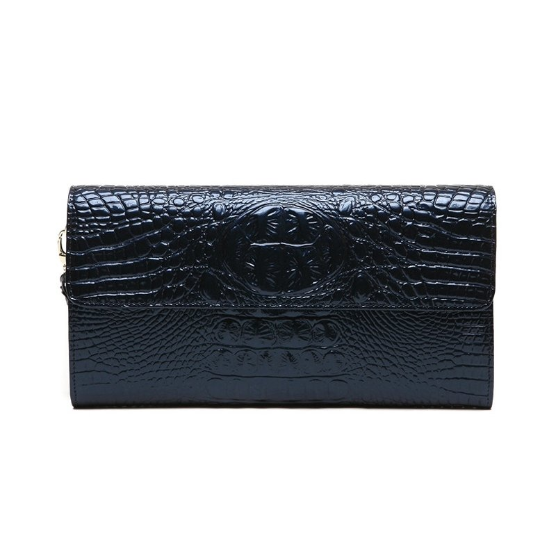 Durable Dark Blue Genuine Cowhide Leather Casual Party Flap Wristlet Trend Embossed Alligator Magnet Buckle Lady Small Evening Clutch