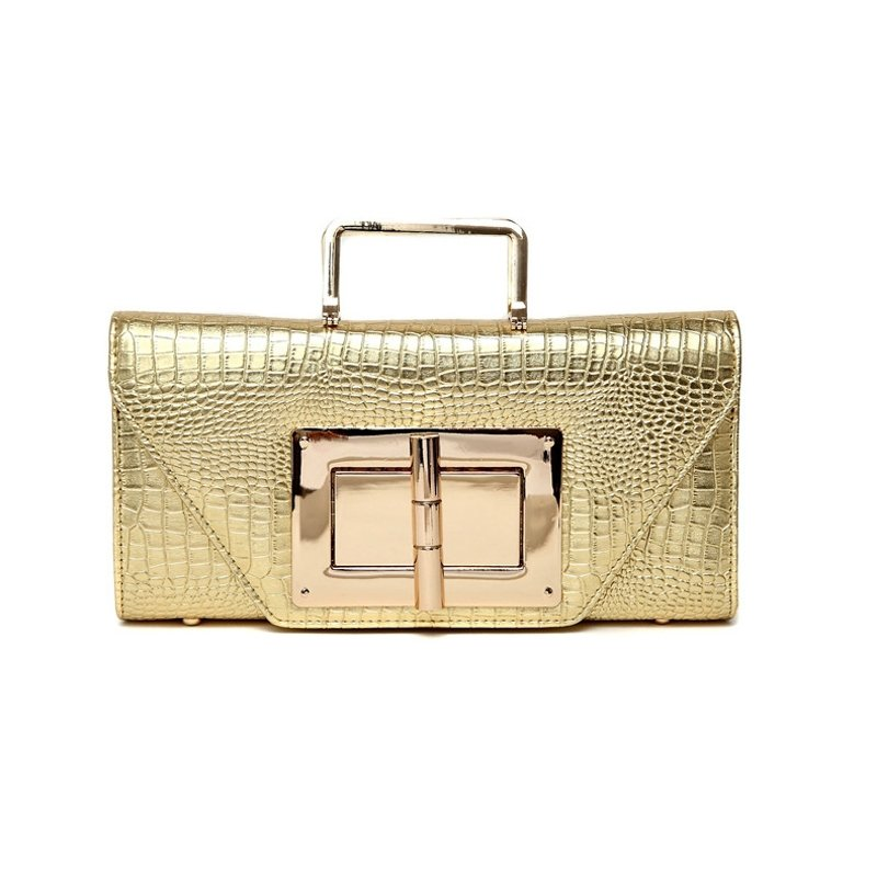Stylish Gold Patent Leather Flap Envelope Evening Party Clutch Embossed Crocodile Sequined Chain Strap Crossbody Shoulder Handle Bag