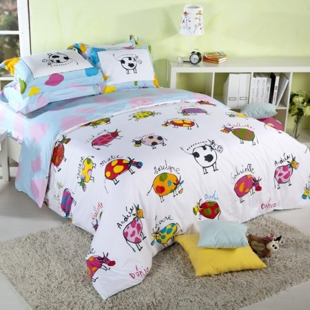 Light Blue and White Colorful Cow, Cattle Print Farm Animal Themed Full, Queen Size Kids Bedroom Bedding Sets