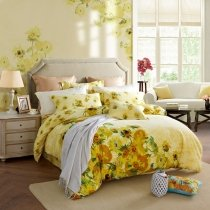 Orange Yellow Green and White Sunflower Print Vintage Style Natural 3D Design 100% Brushed Cotton Full, Queen Size Bedding Sets