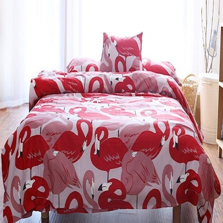 Crimson Red Pink and White Flamingo Print Abstract Design Elegant Girls 100% Cotton Damask Twin, Full, Queen Size Bedding Sets