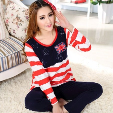 The American Flag Print Shirt and Trousers Girls Lady Pajamas M L XL