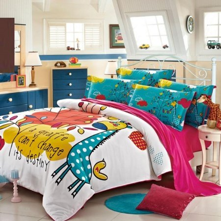 teal blue yellow and white little giraffe print wild animal themed full size kids bedroom. Black Bedroom Furniture Sets. Home Design Ideas