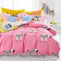 Stylish Girls Pink Black and White Zebra Print Jungle Themed Funky Style 100% Cotton Twin, Full Size Bedding Sets