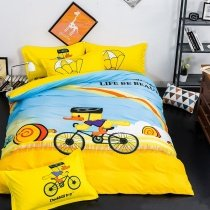Yellow Black and Sky Blue Cute Duck Cycling Bike Funky Style Cartoon Themed Kids 100% Cotton Twin, Full Size Bedding Sets