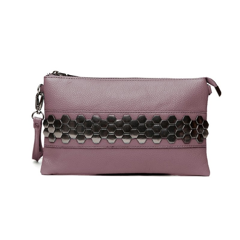 Durable Plum Purple Genuine Cowhide Leather Casual Party Evening Clutch Wristlet Hipster Sequin Studded Women Small Crossbody Shoulder Bag