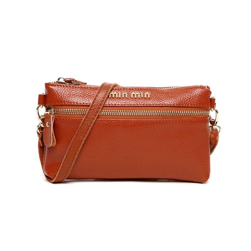 Durable Rust Orange Genuine Cowhide Leather Women Clutch Wallet Wristlet Hipster Sewing Pattern Sequin Small Crossbody Shoulder Bag