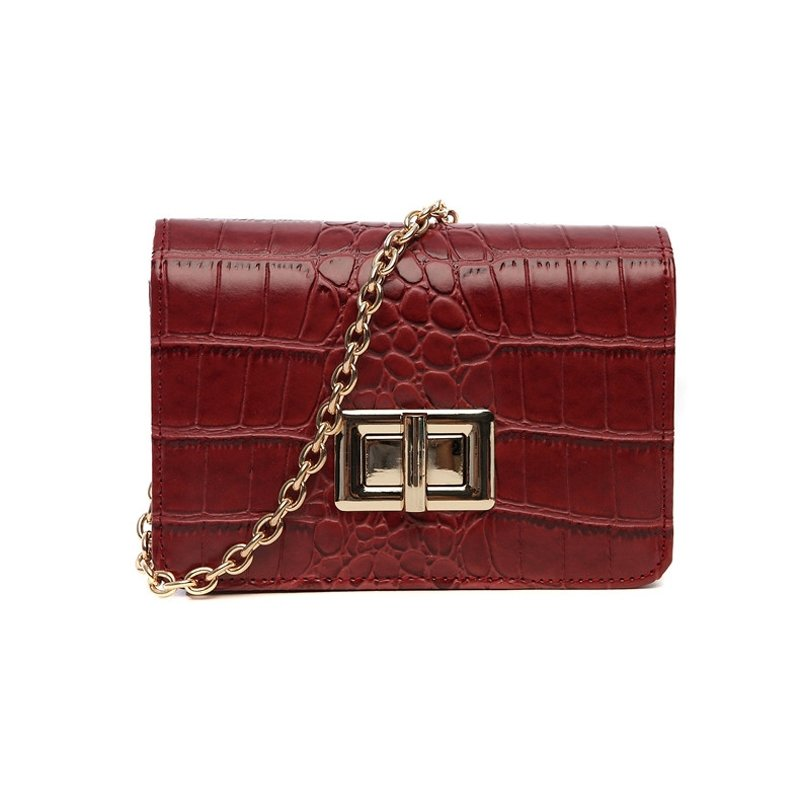 Vintage Dark Red Faux Leather Lock Closure Hipster Embossed Alligator Sewing Pattern Women Casual Party Chain Flap Crossbody Shoulder Bag