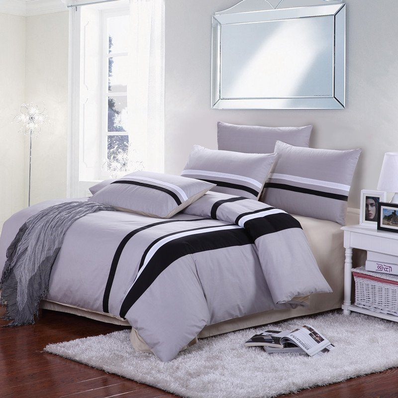 Solid Grey and Black Vertical Stripes Simply Chic Full Size 5 Star Hotel Style 100% Cotton Bedding Sets