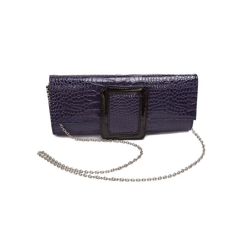 Dusty Blue Distressed Leather Lady Flap Evening Clutch Vintage Embossed Alligator Magnetic Closure Chain Strap Crossbody Shoulder Bag