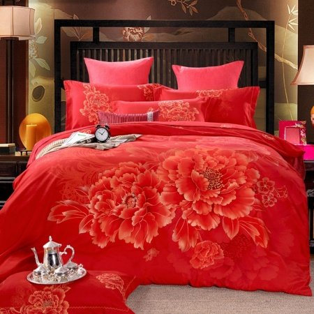 Hot Red and Gold Luxury Boutique Peony Flower Print Oriental Style Reversible 100% Brushed Cotton Full, Queen Size Bedding Sets