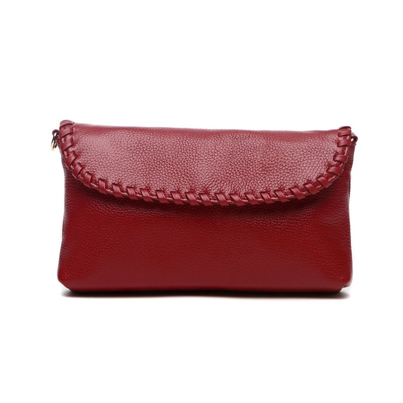 Gorgeous Durable Solid Carmine Red Genuine Cowhide Leather with Fashion Braided Simply Chic Women Casual Party Flap Crossbody Shoulder Bag