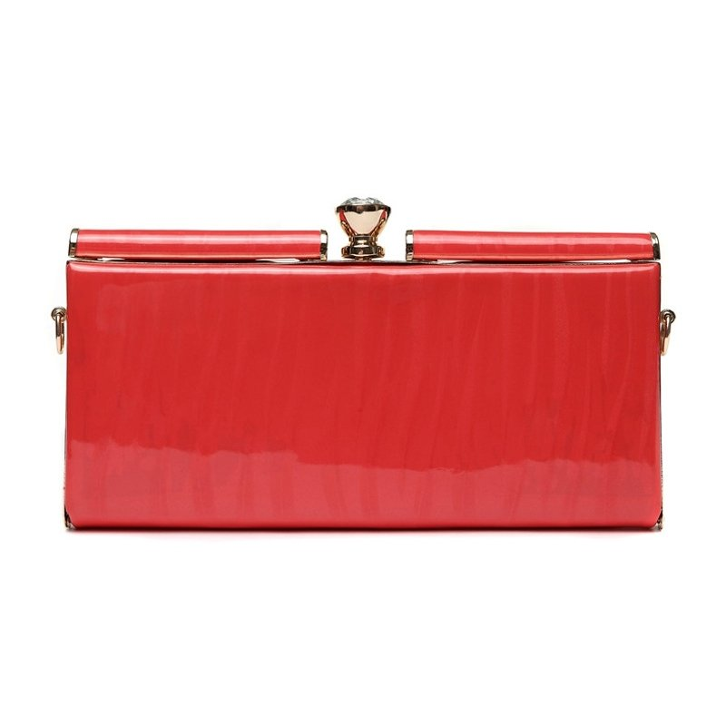 Durable Coral Red Patent Leather Lady Casual Party Evening Clutch Gorgeous Magnetic Closure Rhinestone Chain Small Crossbody Shoulder Bag
