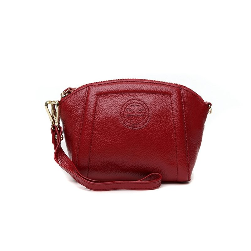 Burgundy Red Genuine Cowhide Leather Lady Evening Clutch Wristlet Trend Sewing Pattern Casual Party Small Shell Crossbody Shoulder Bag