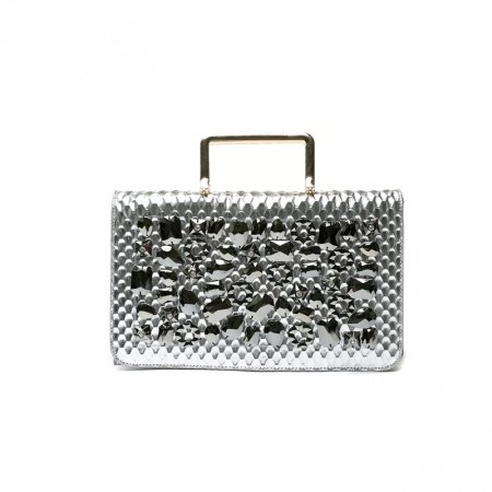 Durable Metallic Silver Patent Leather Bling Rhinestone Flap Evening Clutch Hipster Embossed Snakeskin Women Crossbody Shoulder Tote Bag