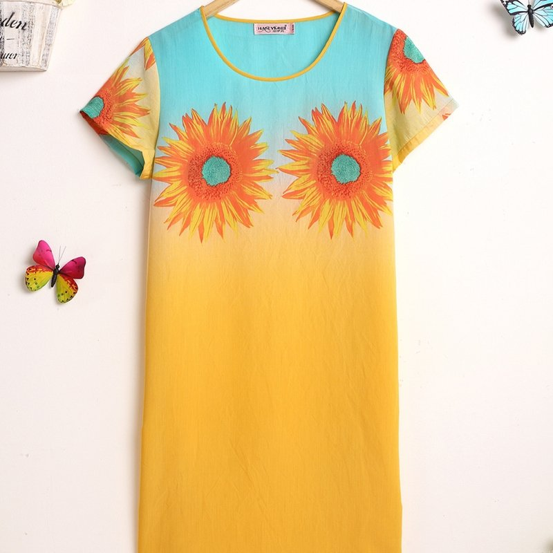 Flower Sunflower Print One Piece Dress Contracted Breathable Summer Pajamas for Women