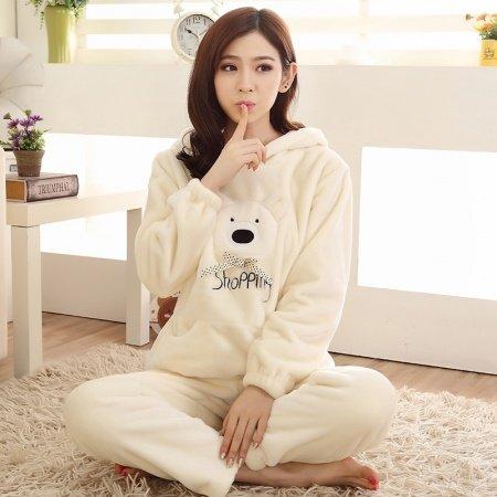 Plain Beige Cartoon Bear Pattern Flannel 2pc Hooded Shirt and Trousers Cute Pajamas for Girls M L XL XXL