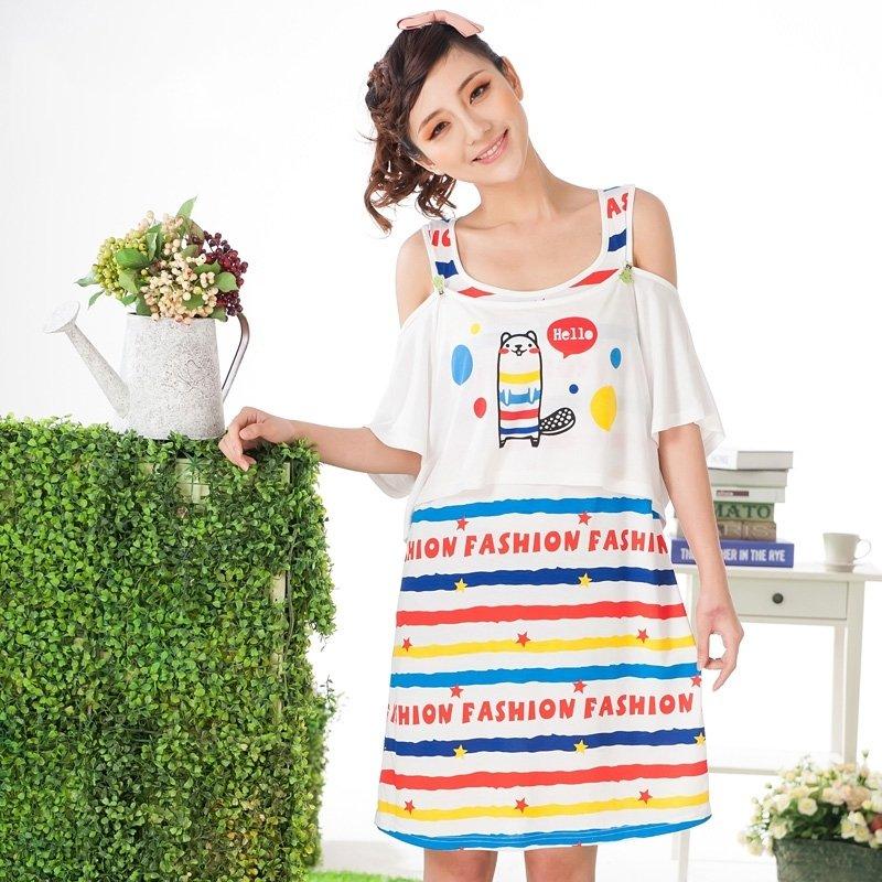100% Cotton Knit Cartoon 1 Piece Slip Dress Fashion Pajamas for Girls M L XL XXL