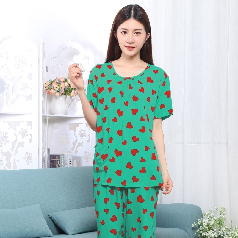 Green Heart Print Viscose 2 Pieces Short Sleeve and Cropped Trousers Plus Size Spring Pajamas XXL XXXL XXXXL