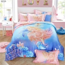 Elegant Girls Ocean Blue and Coral Pink Angel and Dolphin Print Undersea World 100% Tencel Full, Queen Size Bedding Sets