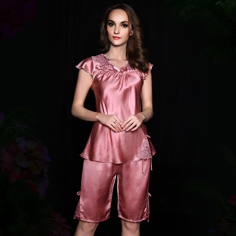Peach Pink European style Embroidered Hollow Out Lace 100% Nature Silk Shirt & Pants Girls Lady Pajamas L XL