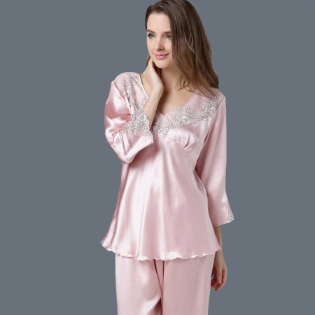 Pink 100% Nature Silk 2 Pieces Spring Pajamas for Feminine Girly L XL XXL