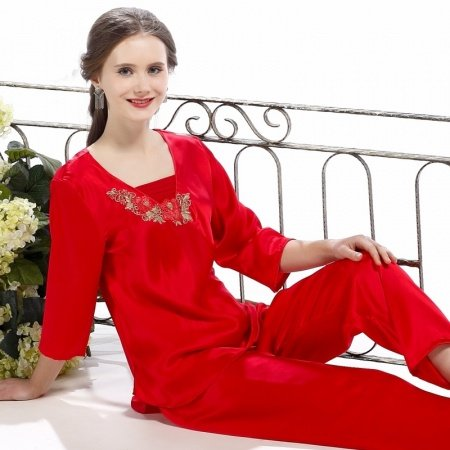 Solid Red 100% Chinese Silk Long Shirt with Flower 3D Embroidered Trim and Pants Contracted Pajamas for Feminine Girly M L XL