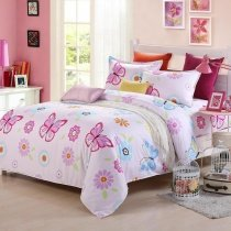 Elegant Girls Hot Pink Light Blue and White Beautiful Butterfly Print Pastel Style 100% Cotton Twin, Full Size Bedding Sets